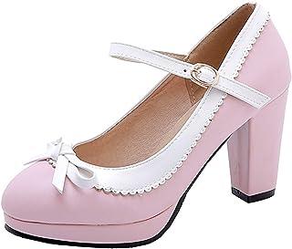 0803bd45 Coolulu Mujer Zapatos de Tacón Alto y Ancho con Lazos Correa al Tobillo con  Hebilla Estilo