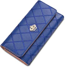 C-Xka Fashion Crown Ladies Wallet Long Section Three Fold Plaid Leather Wallet European And American Embroidered Clutch Purse