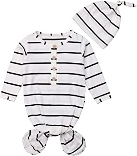 Newborn Knotted Sleep Gown Organic Baby Boy Girl Knotted Sleeping Bag with Headband/Hat