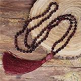 donne perline collana 8mm garnet in pietra naturale garnets collana di nappa rossa nuovo boho lariat mala yoga collana belle gioielli
