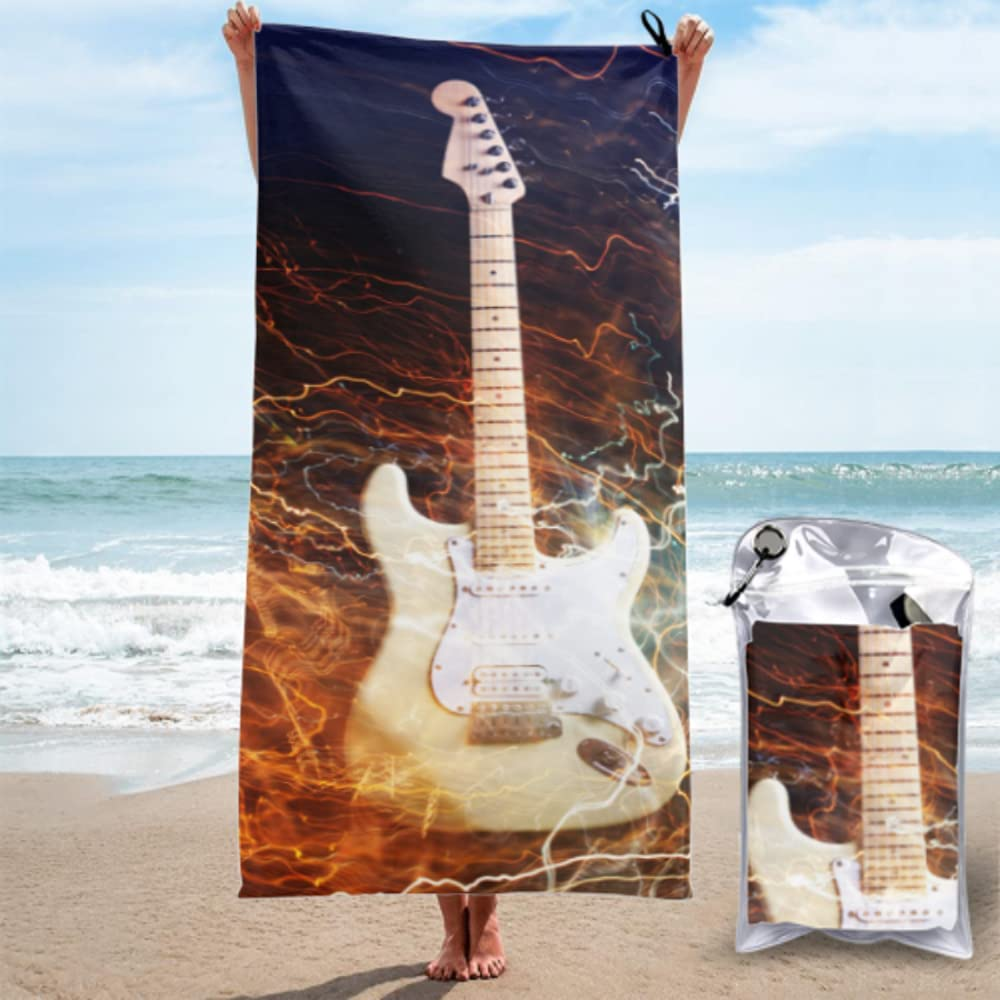 Mens Microfiber Beach Towel Indianapolis Mall Electric With Guitar Max 75% OFF Surrounded The