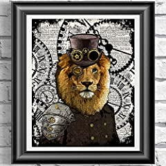 Animal Art Prints Set on Antique Dictionary Pages, Steampunk Decor #2