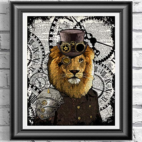 Animal Art Prints Set on Antique Dictionary Pages, Steampunk Decor steampunk buy now online
