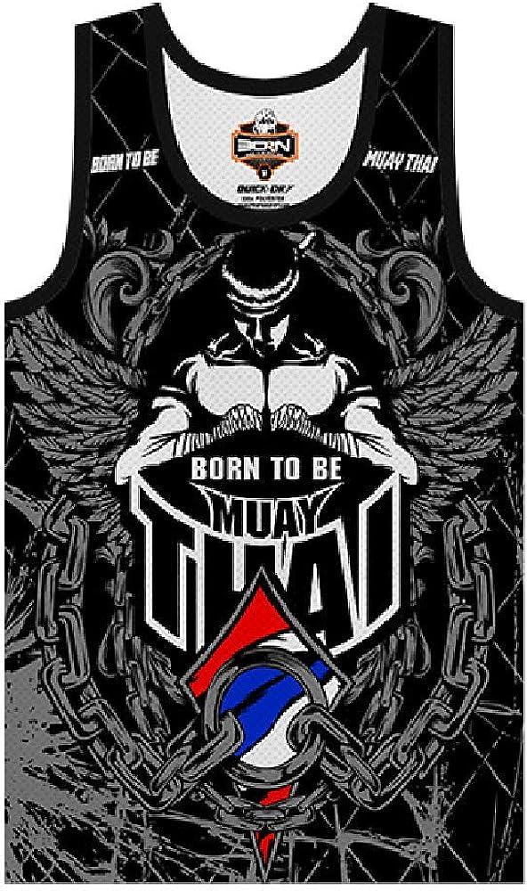 Born To Be Muay Thai Sleeveless Muscle Shirt Martial Arts Gym Trunks Kick Boxing Running Training for Men Kids.