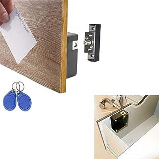 مجموعة أدوات قفل الخزانة الإلكترونية من ألثيكا، قفل ذاتي مخفي لخزائن درج خزانة الخشبية، مدخل بطاقة RFID / بطاقة RFID مع 3 ...