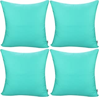 4-Pack Cotton Comfortable Solid Decorative Throw Pillow Case Square Cushion Cover Pillowcase(Cover Only,No Insert)(18x18 inch/ 45x45cm,Green)