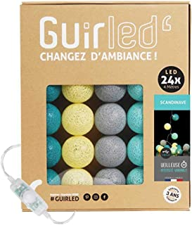 Guirlande lumineuse boules coton LED USB - Veilleuse bébé 2h - Adaptateur secteur double USB 2A inclus - 3 intensités - 24...