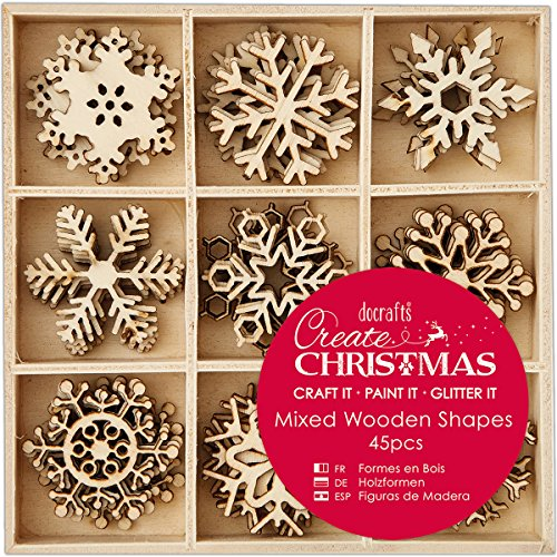 Docrafts PMA 105947 Create Christmas 3cm Snowflakes Mixed Wooden Shapes (45 pieces), Beige, 1.51 x 10.36 x 12.44 cm