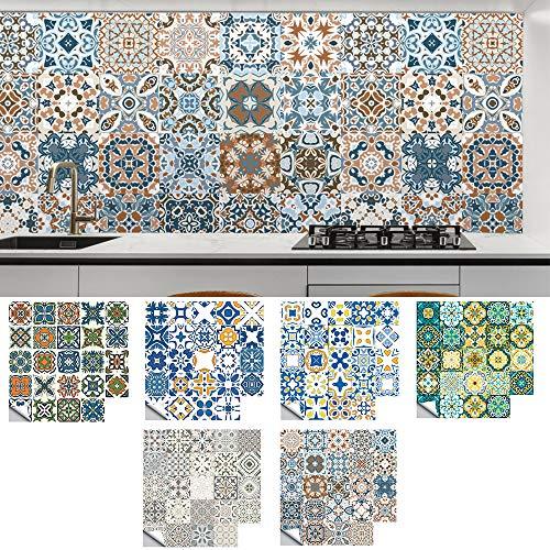 Bestine 24 Piezas Pegatinas de Baldosas 15×15, Pegatinas de Azulejos, Estilo Marroquí, Mosaico Adhesivo de Azulejo, para Cocina, Baño, Sala de Estar, Resistentes al Agua y Aceite
