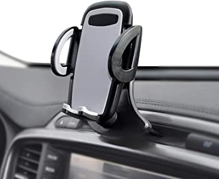 Crazefoto Car Phone Mount,CD Slot Car Phone Holder Universal Car Cradle Mount with Three-Side Grips and One-Touch Compatible with iPhone11/11Pro/X/8/8Plus/7/7Plus/6s/6P,Galaxy S5/S6/S7/S8, Google etc