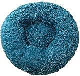 Cama para perros y gatos, cama de peluche grande para interior de casa para perro o gato, 40/50/60/70/80/90 cm (50 cm), color turquesa