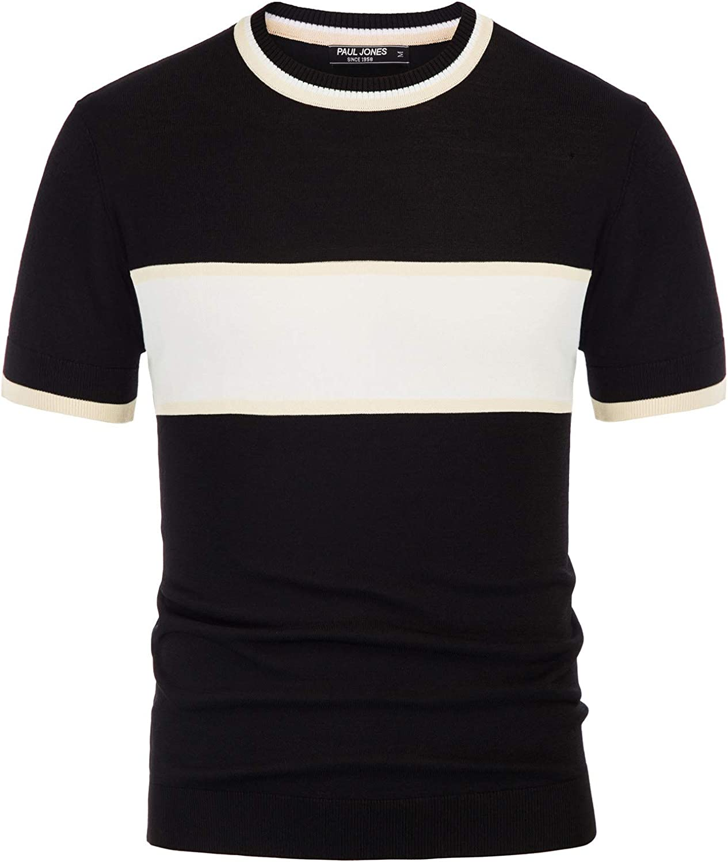 PJ PAUL JONES Men's Casual Limited time sale Block Pullover Sale Color Contrast Sweater