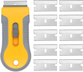EEFUN Razor Blade Scraper with 10pcs Carbon Steel Blades for Removing Vinyl Decals Stickers &Glue from Cars, Boats and Other Delicate Surfaces (Renewed)