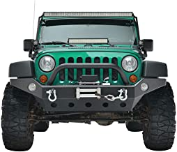 LEDKINGDOMUS Full Width Front Bumper for 07-18 Jeep Wrangler JK and JK Unlimited Rock Crawler With Fog Lights Hole, Winch Plate Black Textured