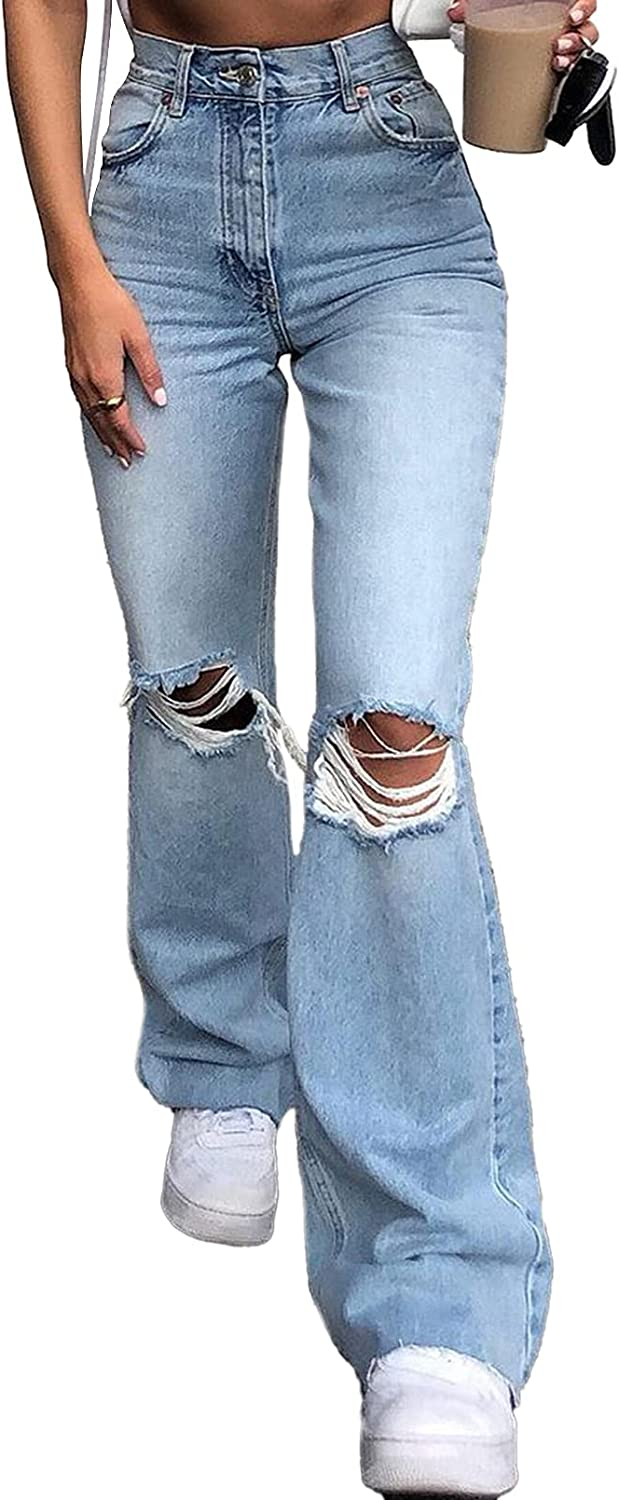 Linsery Skinny Ripped Bell Bottom Jeans Plus Size High Waisted Flare Jeans for Women