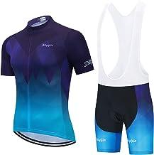 Fietskleding voor heren, set fietskleding, set zomer top + Bib shorts vulling, 9D Gel kussen fietskleding, set comfortabe...