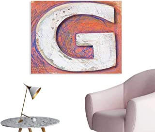 J Chief Sky Letter G Wall Decor Worn Looking Background with Grunge Uppercase G Plank Natural Print Wall Decals for Bedroom W24 xL16