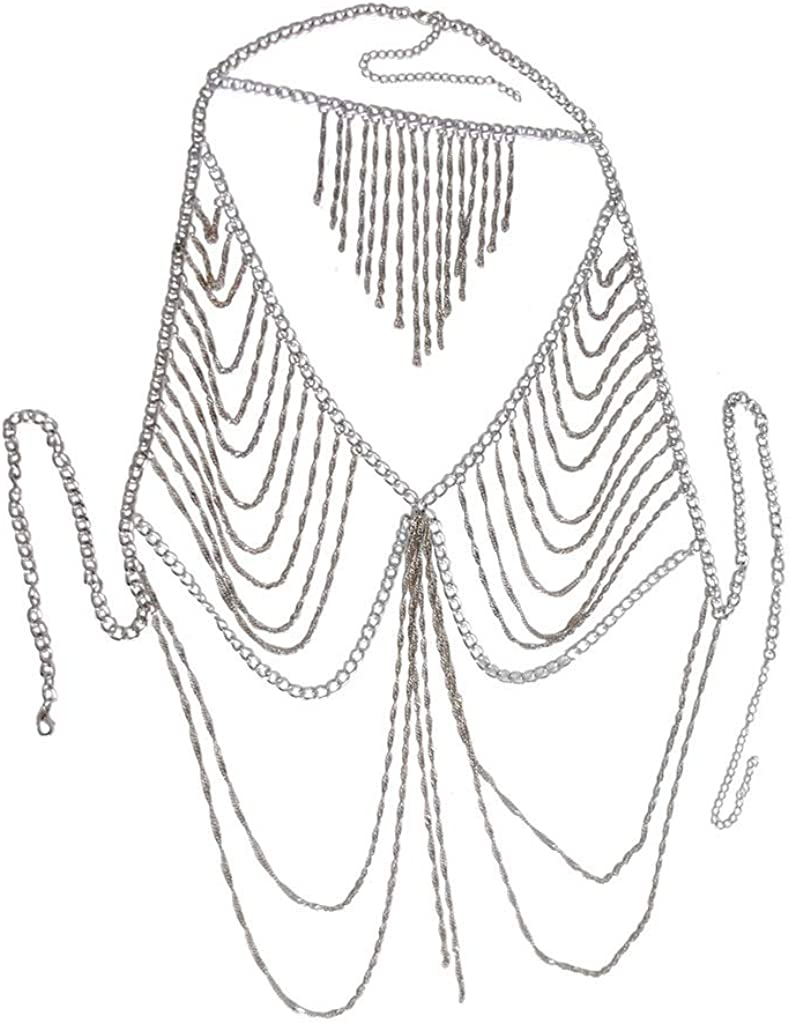 Sinkcangwu New Necklace Accessories Beach Bikini Show Sexy Exaggerated Clothing Chain Necklace Multi Layer Chain Body Chain