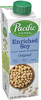 Pacific Foods Enriched Soy Non-Dairy Beverage, Plain, 8-Ounce, (Pack of 24)
