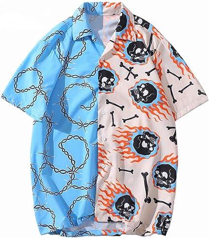 Camisa de Hip Hop Streetwear Hombres Camisa Hawaiana Cadena de Calavera de Fuego Camisa de Playa Harajuku Camisas de Hiphop Tops de Verano de Manga ...