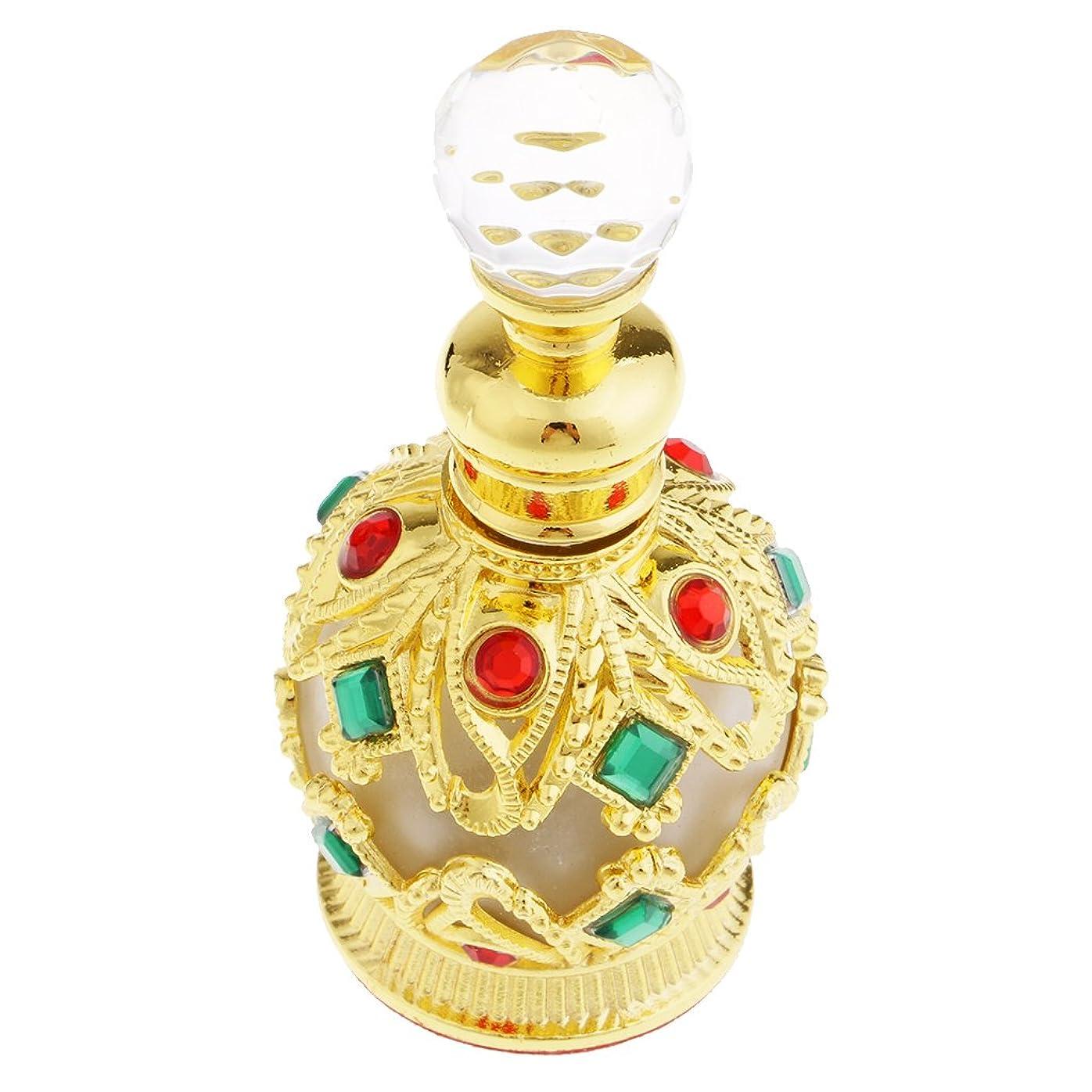 カフェテリア賭け槍Fenteer 金属製 中東スタイル トラベル 香水瓶 15ml 香水ボトル 小型 軽量 携帯便利 全2色 - ゴールド