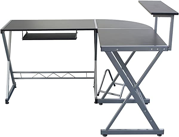 L Shaped Wooden Computer Desk With Top Shelf Gray