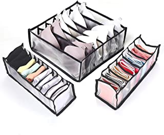 Fship Socks Storage Box Compartment Foldable Underwear Storage Box, There are 6/7/11 Compartment Nylon Compartments, Can H...
