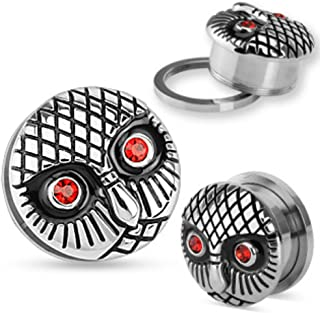 Vintage Owl with Gemmed Red Eyes 316L Surgical Steel WildKlass Screw Fit Plug Sold as a Pair