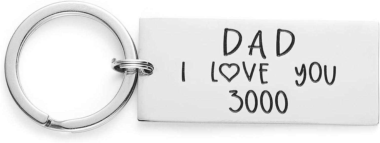 LParkin I Love You 3000 Keychain Dad Daddy Grandpa Stainless Steel Avengers Keychain Avenger Fan Iron Man Inspire