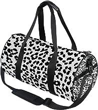 DEZIRO Zwart en Wit Leopard Patroon Sport Duffle Bag Drum Sporttas