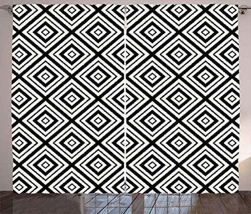 ABAKUHAUS Zwart en wit Gordijnen, ruit Tracery, Woonkamer Slaapkamer Raamgordijnen 2-delige set, 280 x 175 cm, Zwart wit