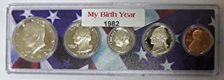 1982 - 5 Coin Birth Year Set in American Flag Holder Uncirculated