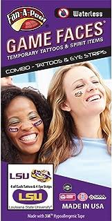 LSU Tigers – Waterless Peel & Stick Temporary Tattoos – 12-Piece Combo – 4 Purple/Gold LSU Logo & 4 Purple/Gold Tiger Eye Logo Spirit Tattoos & 4 Gold LSU Logo on Purple Eye Strips
