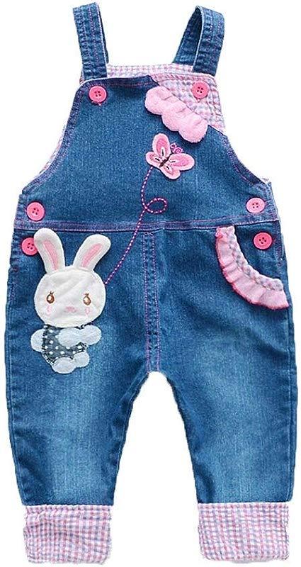 VEFSU Children Toddler Kids Girls Cartoon Rabbit Butterfly Print Denim Jumpsuit Pants