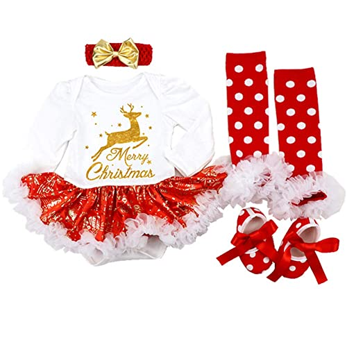 31bfeefac Sallyshiny Christmas Costume Newborn Baby Girl Romper Dress Outfit Bodysuit  Tutu Skirt Clothes 4pcs/Set