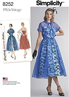 Simplicity 8252 1950's Vintage Redingote and Party Dress Sewing Pattern, Sizes 4-12