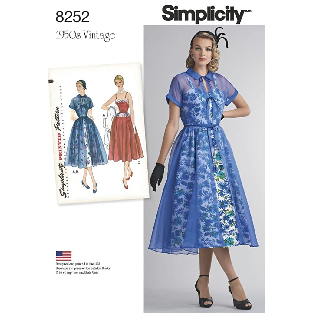 Simplicity Pattern 8252 D5 Misses' 1950s Dress and Redingote, Size 4-6-8-10-12, by 1950s Vintage