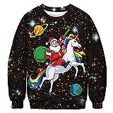 QKURT Unisex Pull Moche de Noël, Pulls molletonnés 3D Digital Print Graphic T-Shirts à Manches...