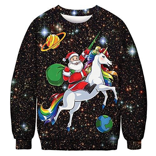 QKURT Unisex Pull Moche de Noël, Pulls molletonnés 3D Digital Print Graphic T-Shirts à Manches Longues