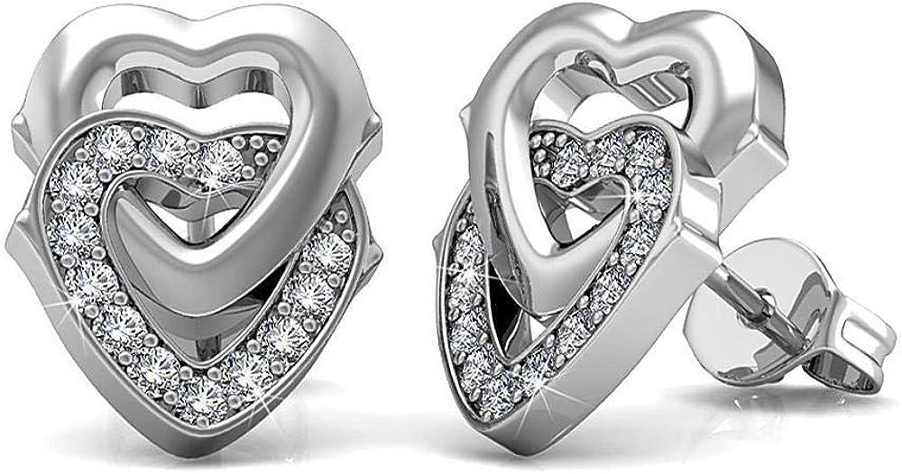 Dividiamonds Double Heart Stud Earrings Ro Industry No. 1 14K Gold Finish White Fees free