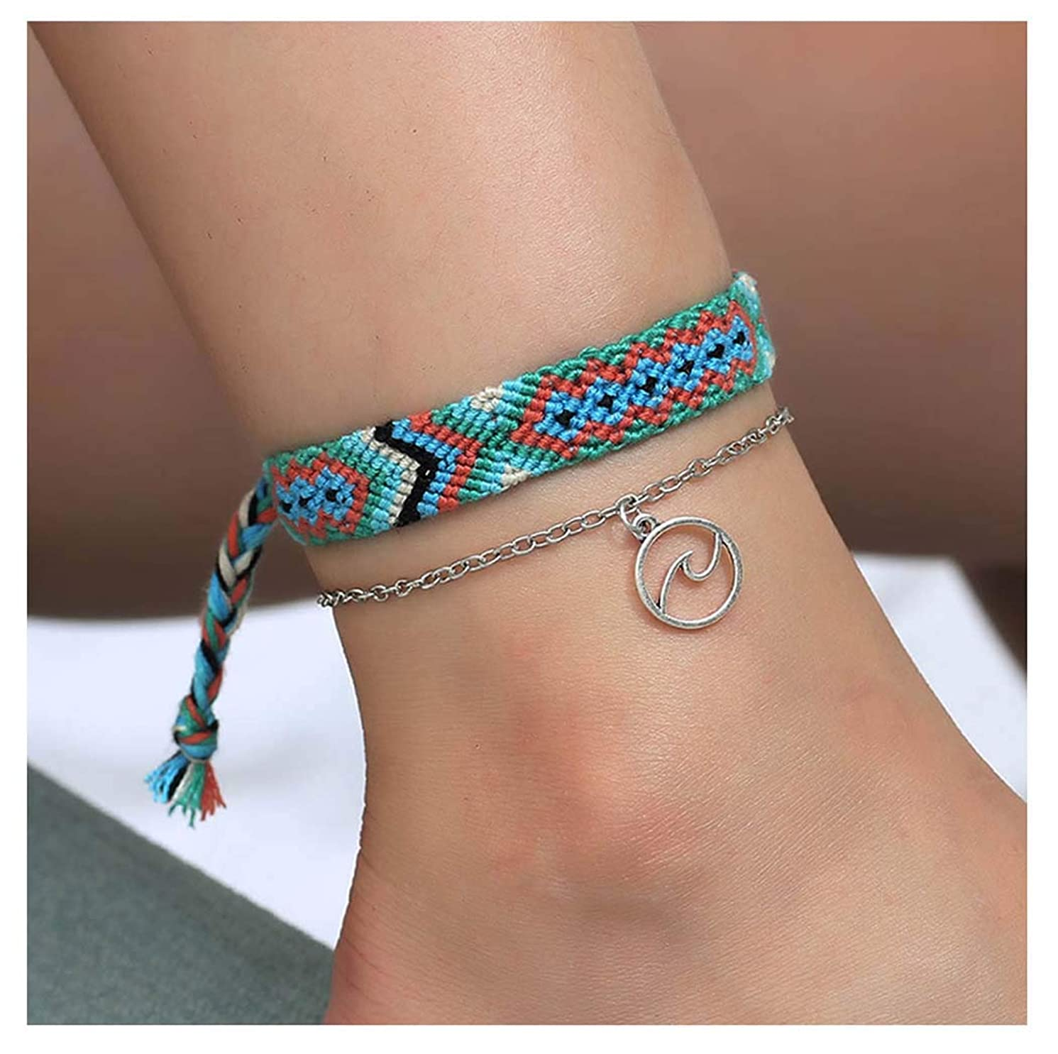 CanB Layered Rope Anklet Boho Beach Anklet Bracelet Multicolor Handmade Foot Chain Silver Jewelry for Women and Girls