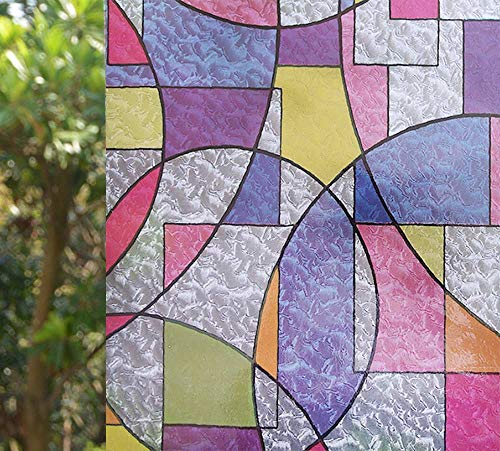VSUDO 1 Roll 17.7' by 78.7' Static Cling Window Film for Privacy, Colorful Geometric Texture Pattern Window Tint Sticker for Home or Office (9.68 Sq. Ft Total)