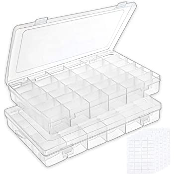 Outuxed 2pack 36 Grids Clear Plastic Organizer Box Storage Container Jewelry Box with Adjustable Dividers for Beads Crafts Jewelry Fishing Tackles with 5 Sheets Label Stickers