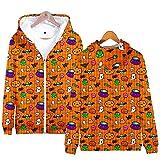 Abrigo de manga larga para mujer, diseño de Halloween 85D, para adultos y mujeres, con capucha y cremallera