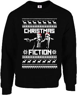 Graphic Impact Inspired Pulp Santa Ugly Gun Fiction Christmas Sweater Xmas Jumper Ugly Christmas