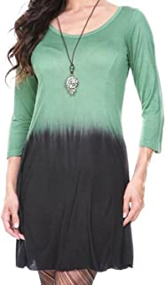 Long Tie Dye Top (Green and Black Ombre)