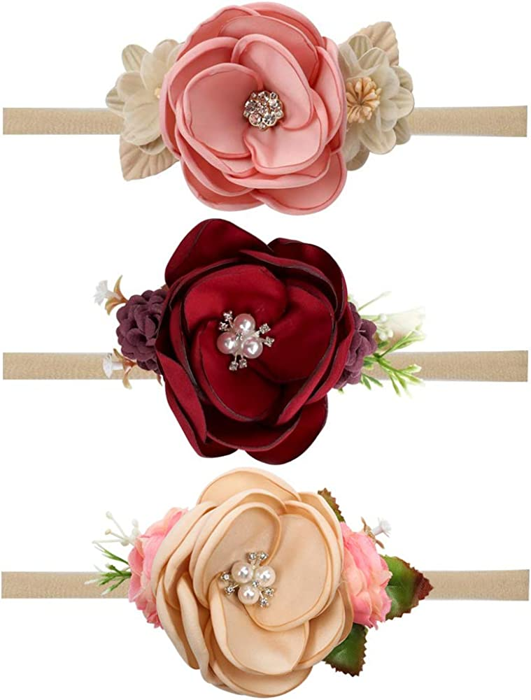 excellence Baby Girls Floral Headband Stretchy Hair Las Vegas Mall Wraps Nylon Pearl Band