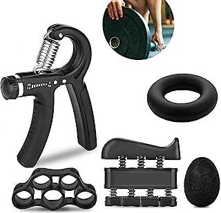 Hovico Hand Grip Strengthener Workout Kit 5 Pack, Adjustable Grip Exerciser, Finger Stretcher Resistance Extensor Bands, F...