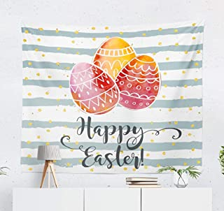 WAYATO Watercolor Easter Egg Wall Tapestry,Tapestry Wall ArtHappy Easter Greeting Card Drawn Festive Colorful WallTapestry for Bedroom Living Room Dorm Decor 60x50 Inches, Happy Easter