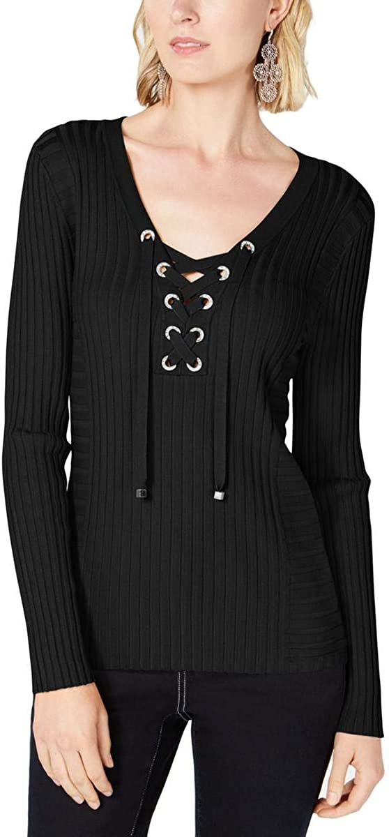 I-N-C Womens At the price Chicago Mall of surprise Ribbed Pullover Rhinestone Sweater
